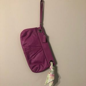 Early 2000s Magenta Soft Leather Coach Clutch